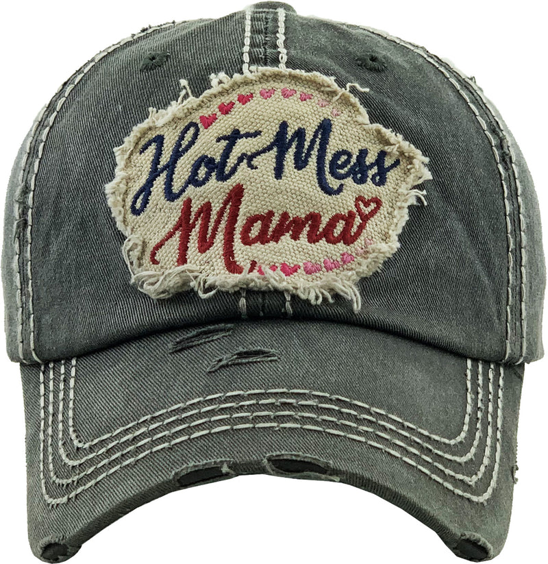 Distressed Patch Hat - Hot Mess Mama
