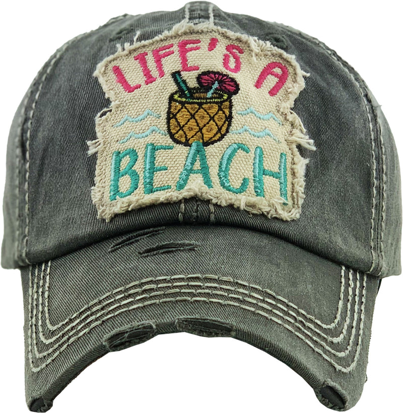 Distressed Patch Hat - Life's a Beach