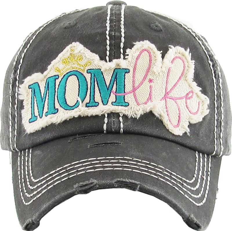 Distressed Patch Hat - Mom Life