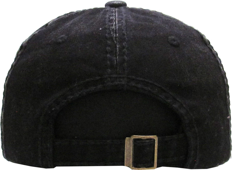 Distressed Patch Baseball Cap - Wild at Heart (Black)