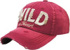 Distressed Patch Baseball Cap - Wild at Heart (Red)