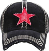 Distressed Patch Baseball Cap - Star (Black)