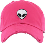 Unconstructed Dad Hat - Alien (Distressed Hot Pink)