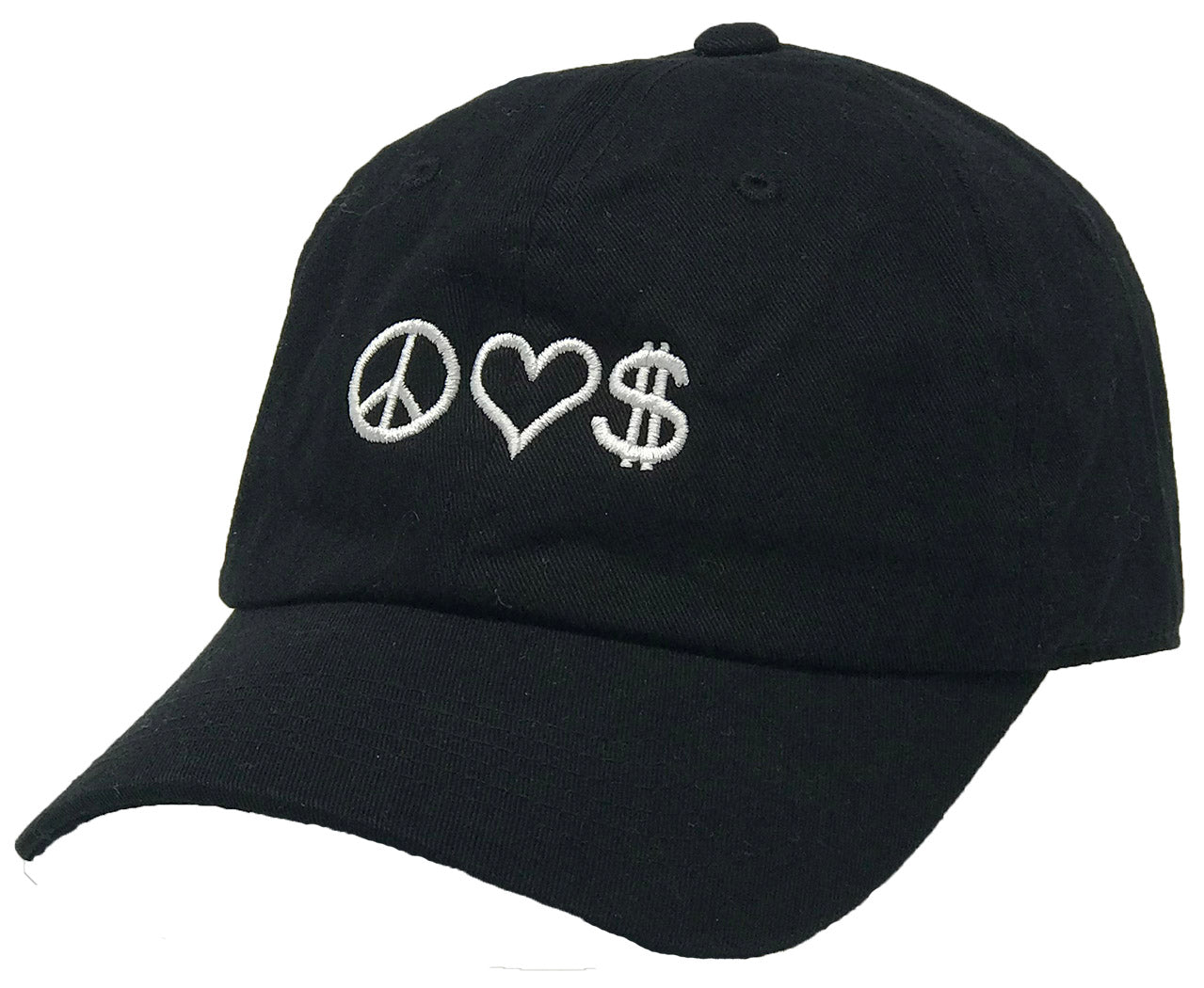 Unconstructed Dad Hat - Peace, Love, Money (Black)