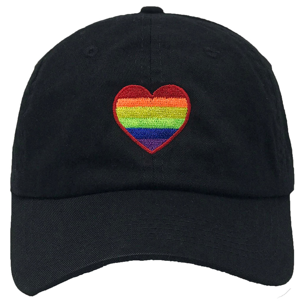 Unconstructed Dad Hat - Rainbow Heart (Black)