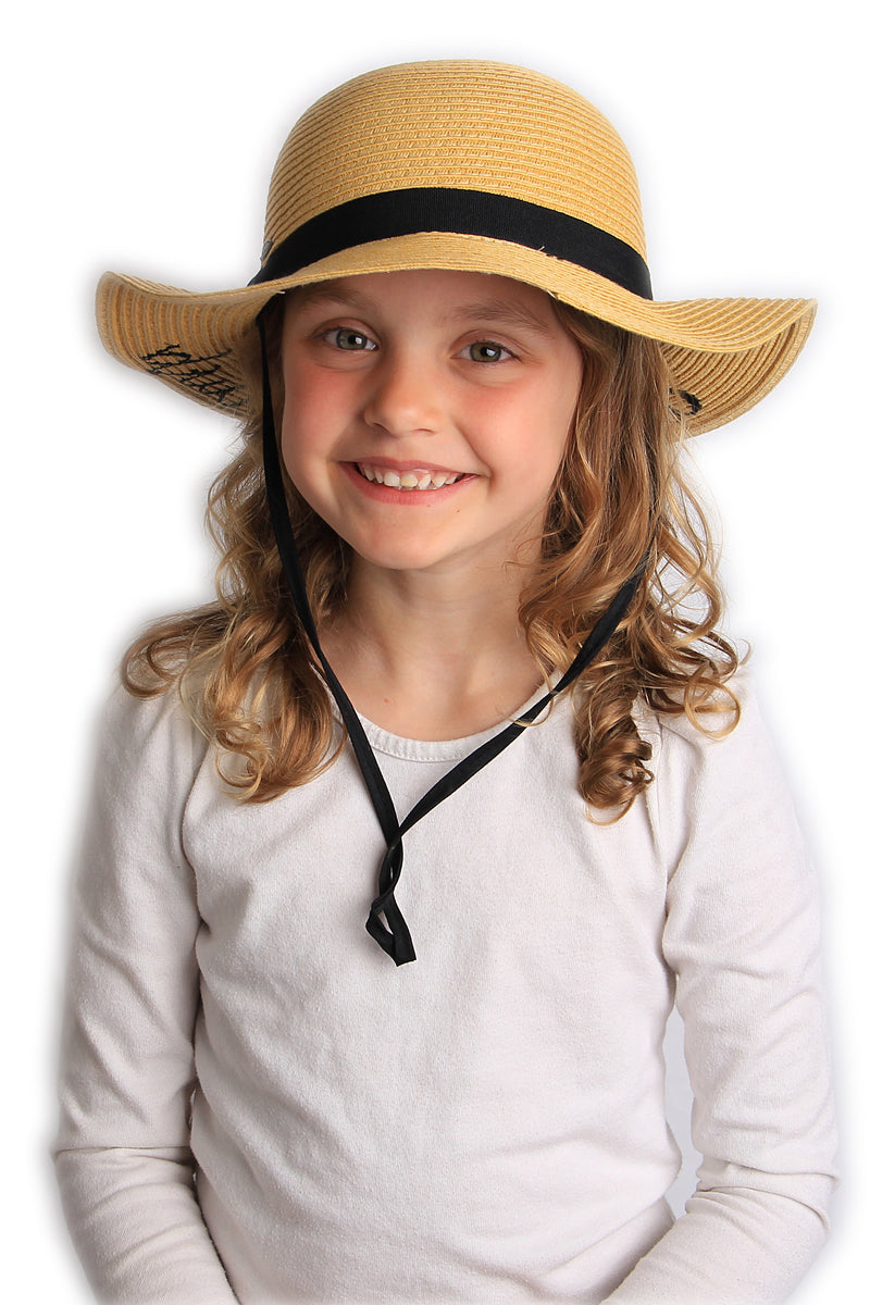 C.C Girls Embroidered Sun Hat - Little Sunshine (Natural)