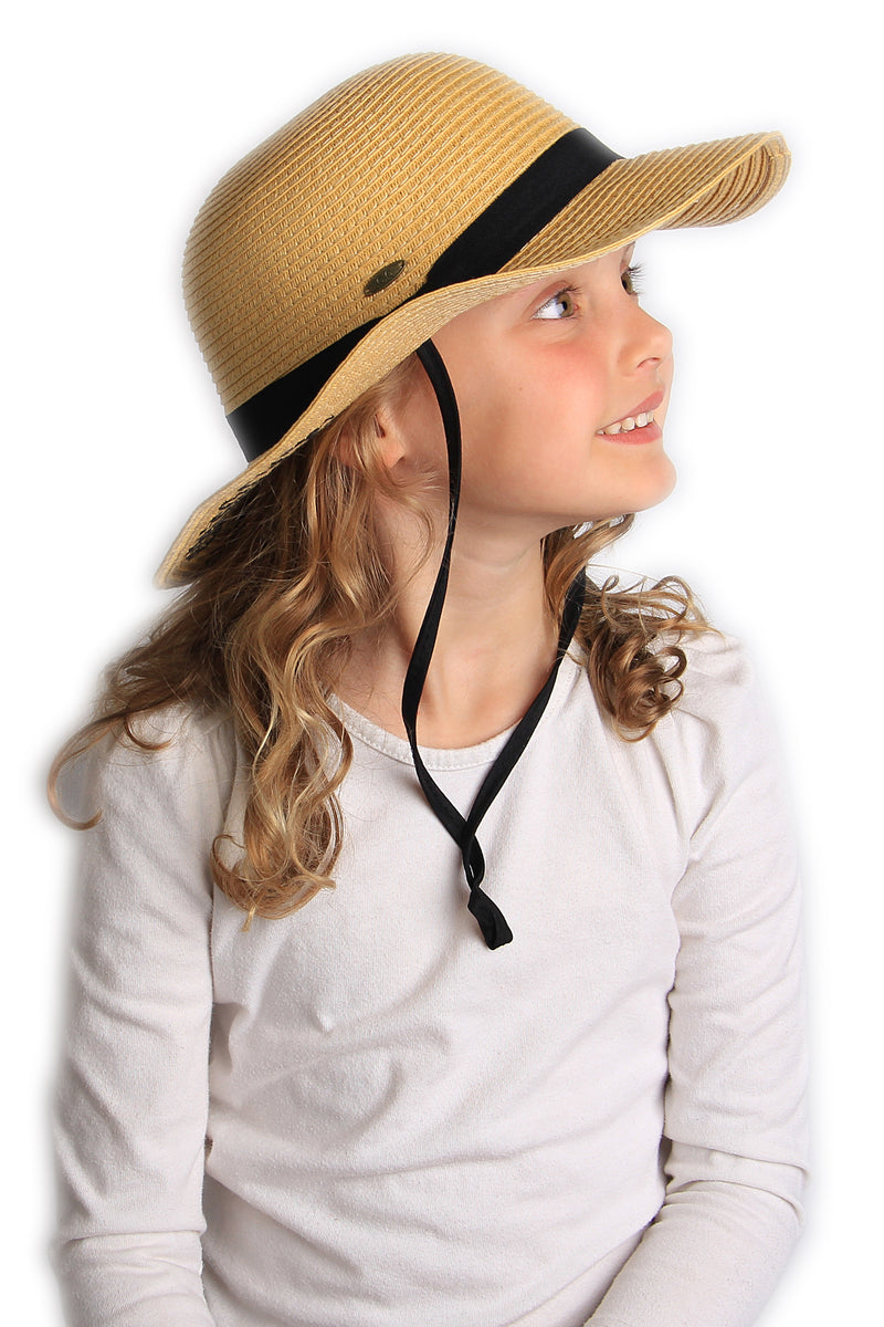 C.C Girls Embroidered Sun Hat - Beach Hair Don't Care (Natural)