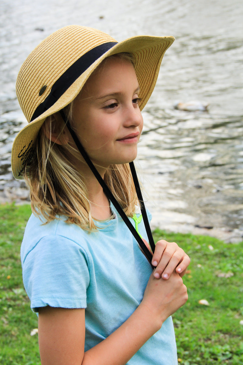 C.C Girls Embroidered Sun Hat - Beach Baby (Natural)