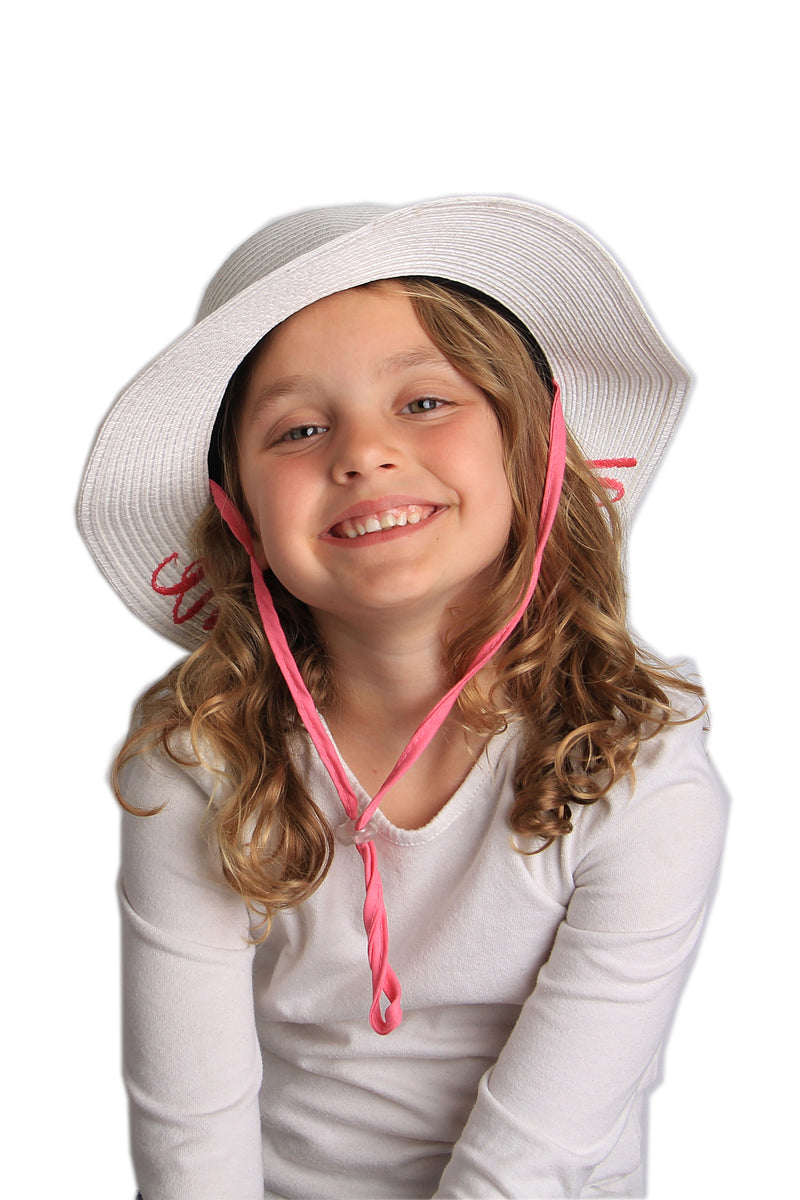 C.C Girls Embroidered Sun Hat - Little Sunshine (White)