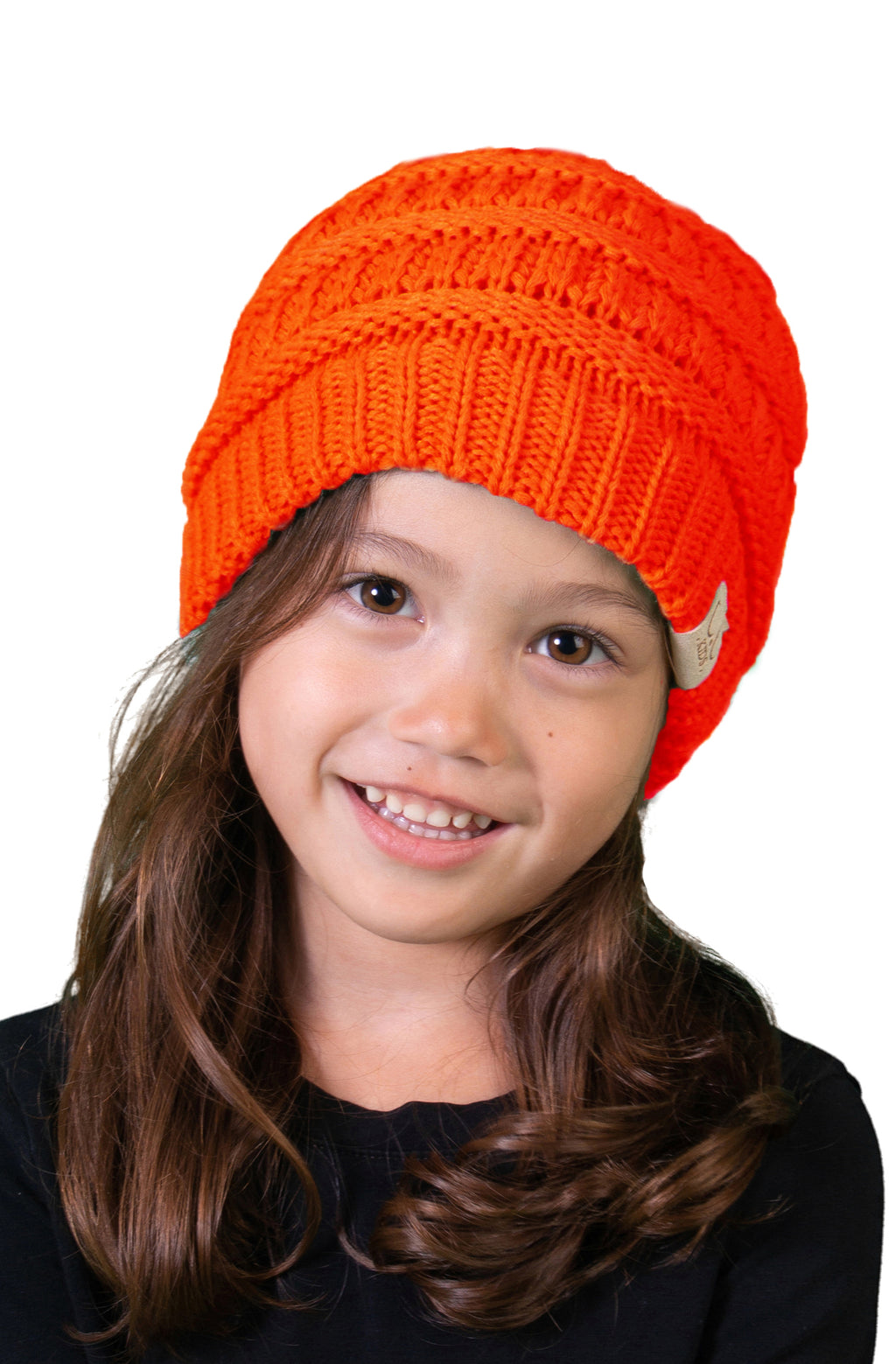 C.C. Kid's Classic Fit Cable Knit Beanie - Neon