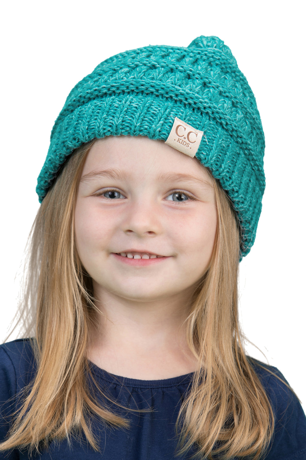 C.C. Kid's Classic Fit Cable Knit Beanie - 2-Tone