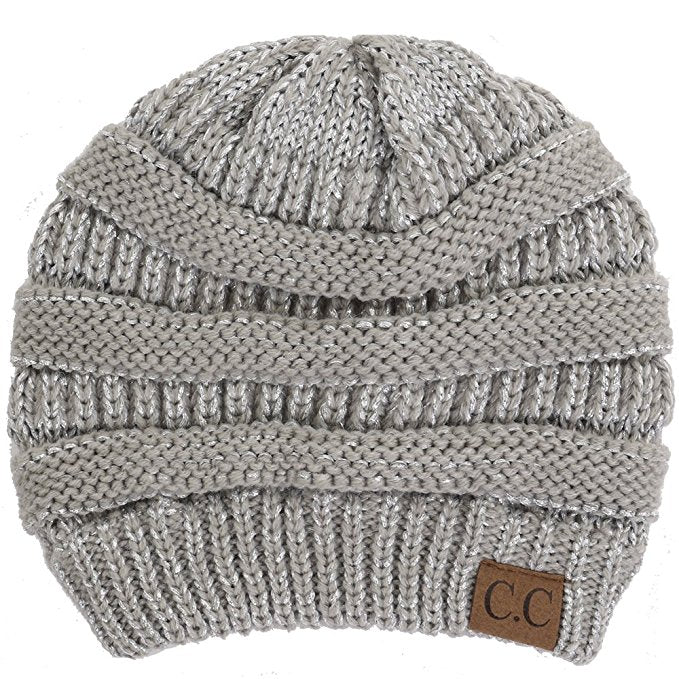 C.C. Classic Fit Cable Knit Beanie - Metallic