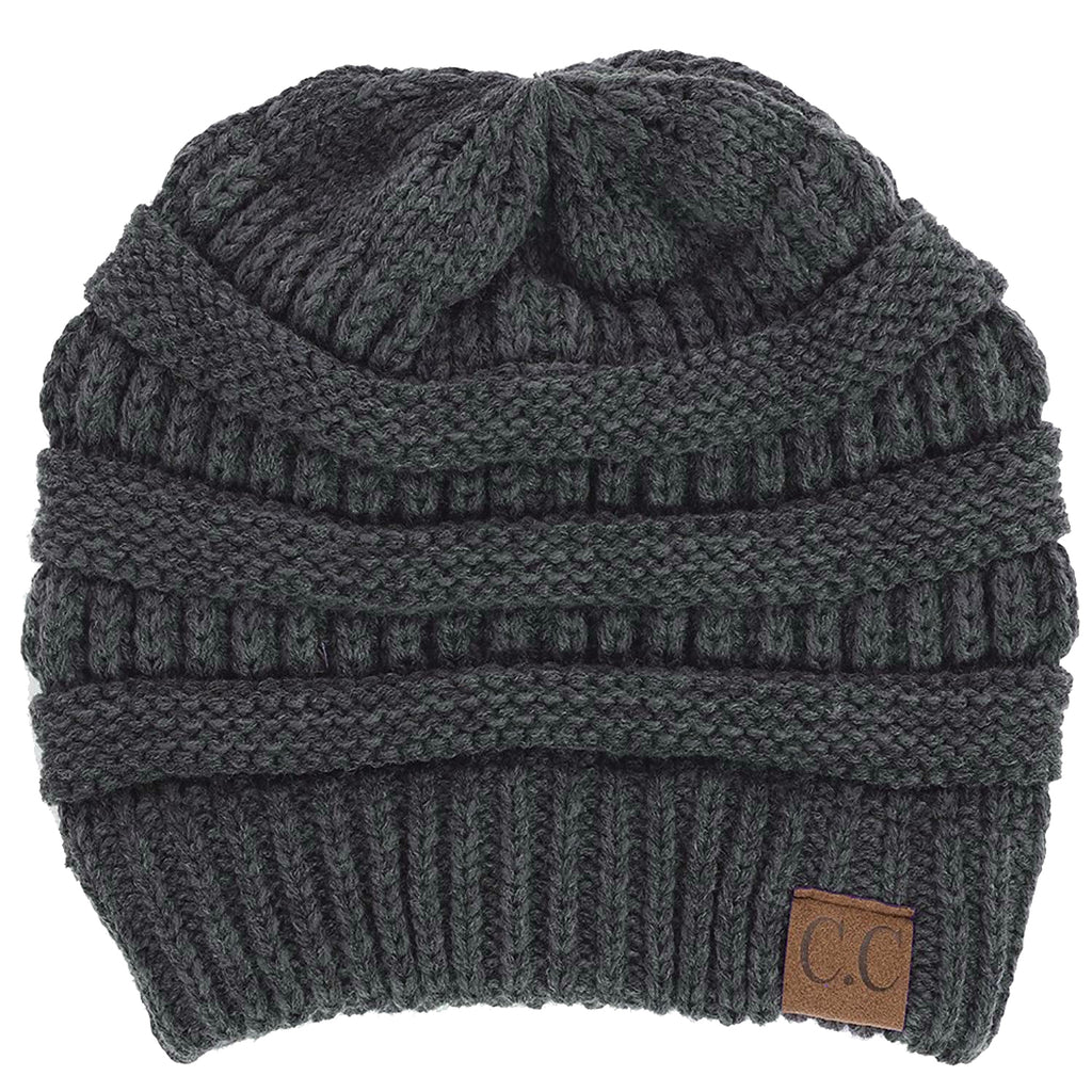 C.C. Classic Fit Cable Knit Beanie - Solid Colors