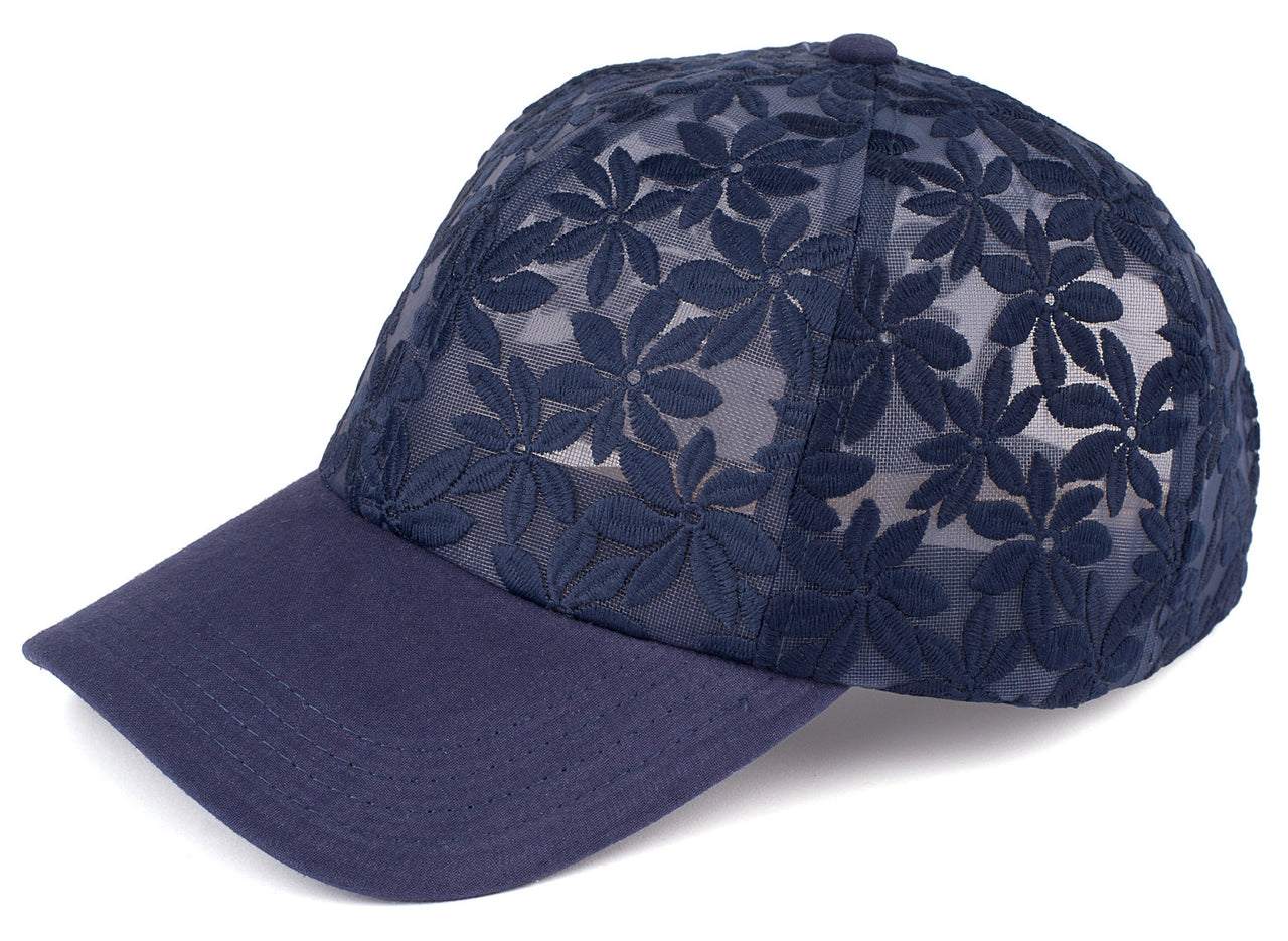 Funky Junque's Womens Sheer Daisy Stitching Floral Print Velcro Baseball Cap Hat - Navy