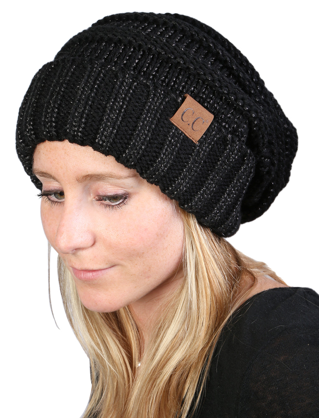 C.C Oversized Slouchy Beanie - Metallic Black