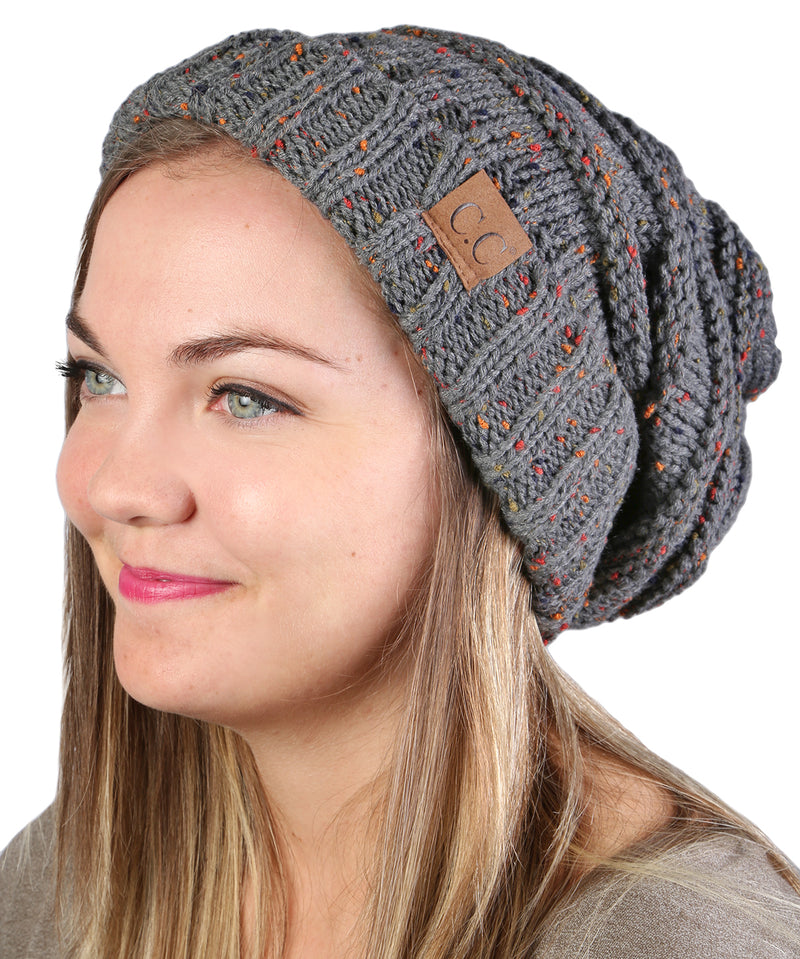 C.C. Oversized Slouchy Fit Cable Knit Beanie - Confetti