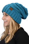C.C. Oversized Slouchy Fit Cable Knit Beanie - Solid Colors