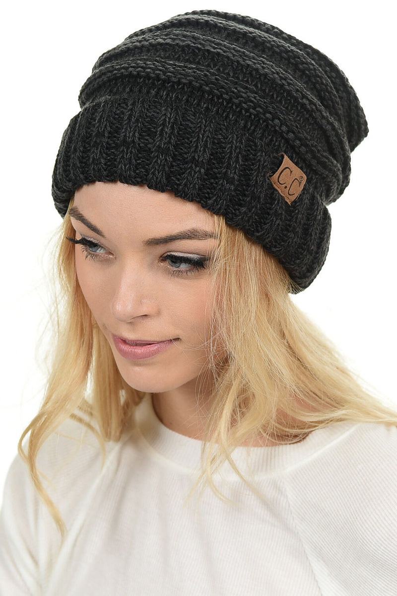 C.C. Oversized Slouchy Fit Cable Knit Beanie - Tricolor Mix