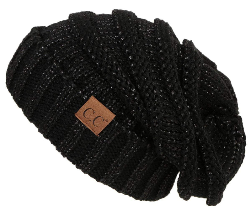 C.C. Oversized Slouchy Fit Cable Knit Beanie - Metallic