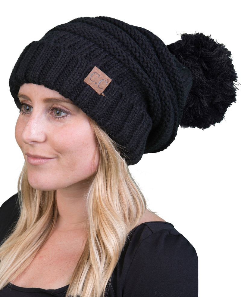 C.C. Oversized Slouchy Fit Cable Knit Beanie W/ Pom