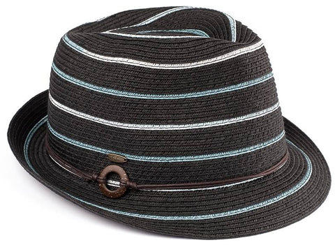 Funky Junque's UPF50+ Adjustable Multicolor Woven Pattern Short Brim Fedora Hat - Black with Denim Stripes and Rope