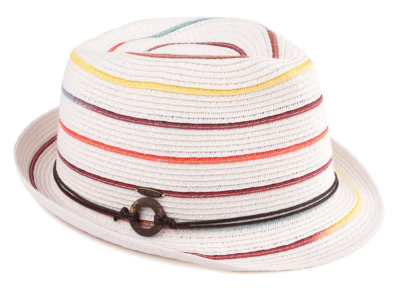 C.C Short Brim Fedora - White with Rainbow Stripes and Rope