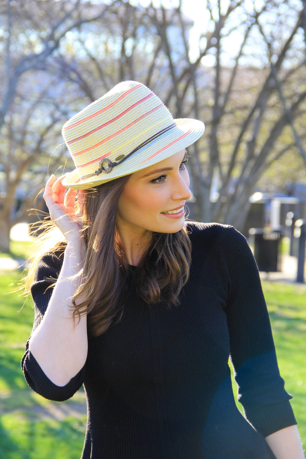 C.C Short Brim Fedora - Natural with Rainbow Stripes and Rope