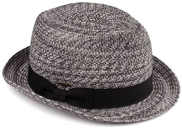 C.C Short Brim Fedora - Black & White Mix with Black Band