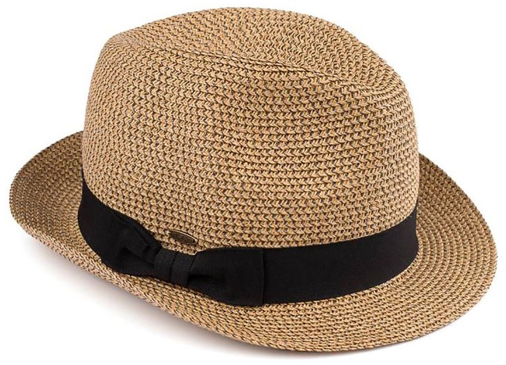 C.C Short Brim Fedora - Brown & Natural Mix with Black Band
