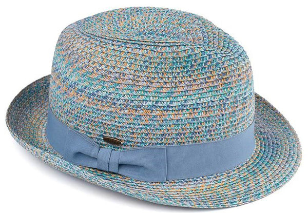 C.C Short Brim Fedora - Denim Mix with Blue Band
