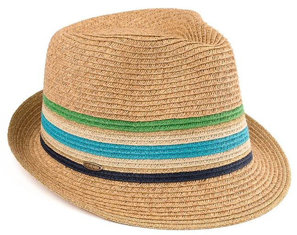 C.C Short Brim Fedora - Turquoise, Navy & Green Stripes