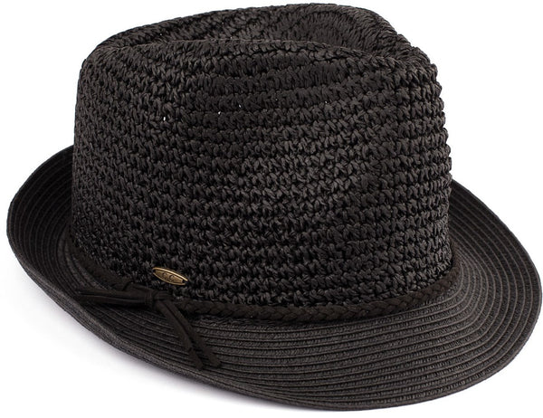 C.C Short Brim Fedora - Black with Black Rope