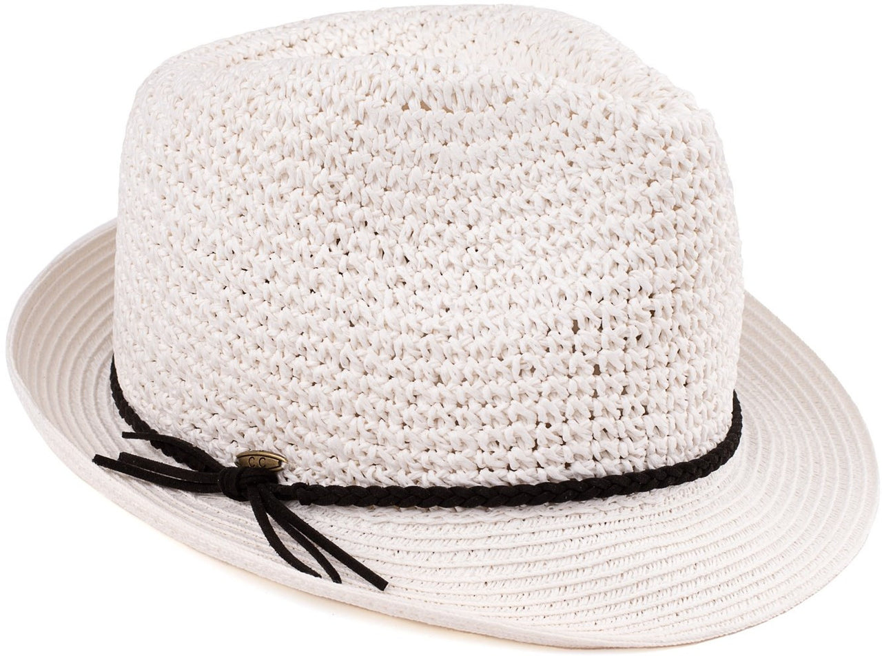 C.C Short Brim Fedora - White with Black Rope