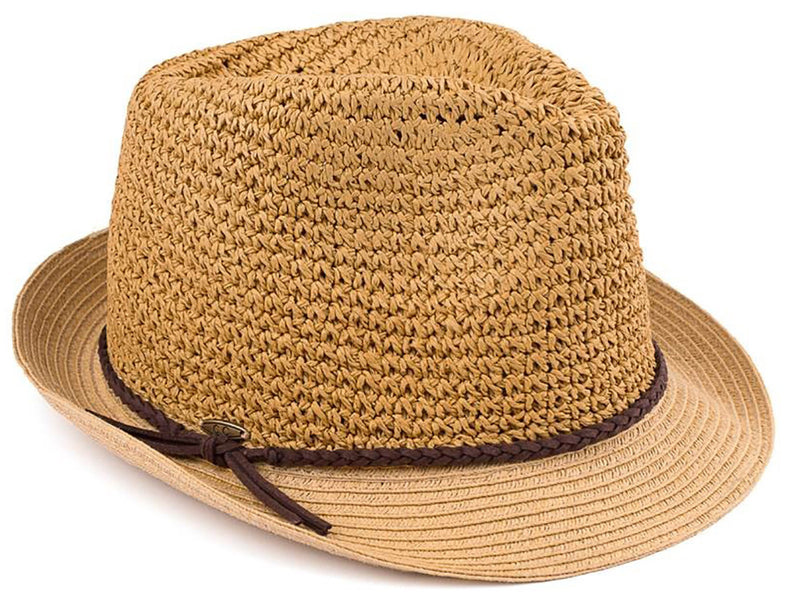 C.C Short Brim Fedora - Dark Natural with Brown Rope