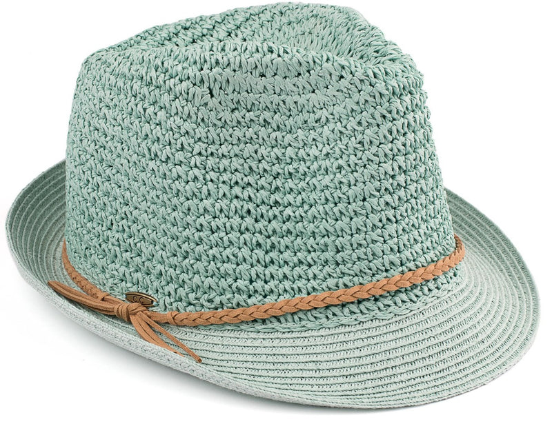 Short Brim Fedora - Mint with Beige Rope