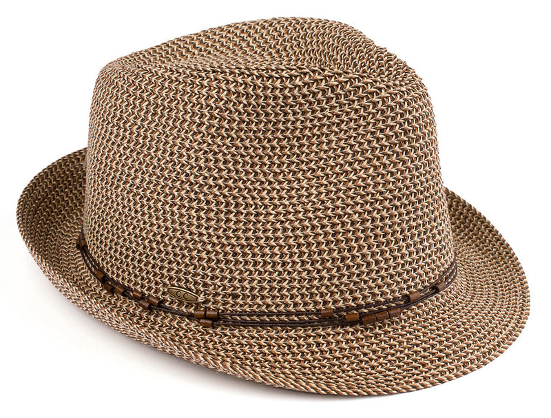 Short Brim Fedora Hat - Brown Multi with Beaded Ropes