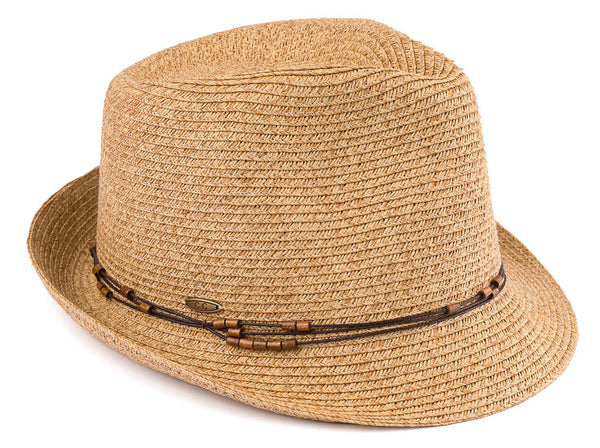Short Brim Fedora Hat - Natural Multi with Beaded Ropes