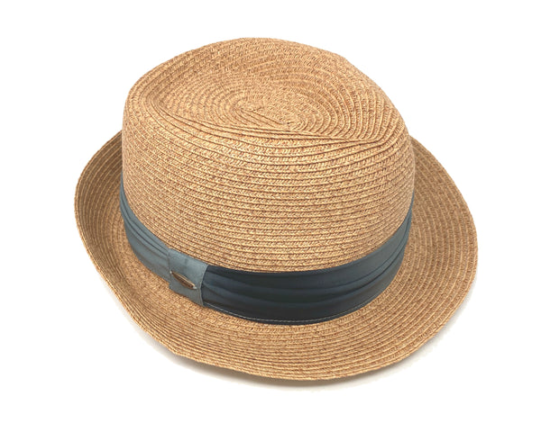 Woven Fedora Sun Hat: Natural w/ Black Ombre Band