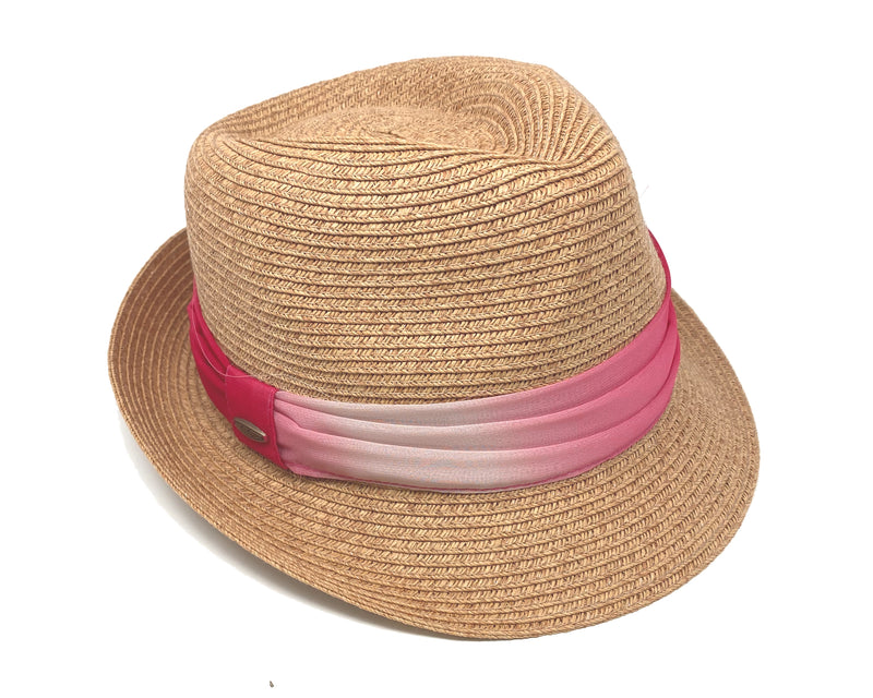 Woven Fedora Sun Hat: Ombre Band - Coral/Natural