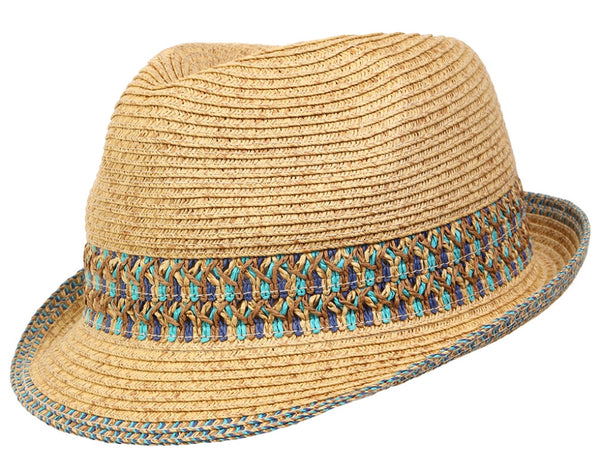 Funky Junque's UPF50+ Adjustable Multicolor Woven Pattern Short Brim Fedora Hat - Blue