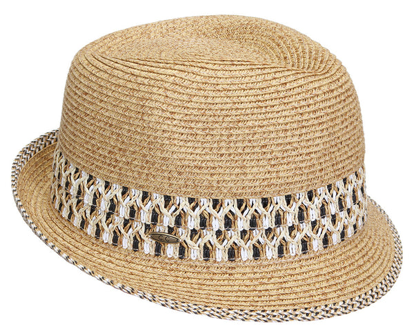 Funky Junque's UPF50+ Adjustable Multicolor Woven Pattern Short Brim Fedora Hat - Brown