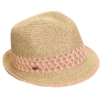 Funky Junque's UPF50+ Adjustable Multicolor Woven Pattern Short Brim Fedora Hat - Coral