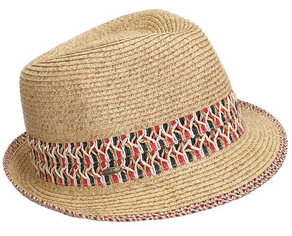 Funky Junque's UPF50+ Adjustable Multicolor Woven Pattern Short Brim Fedora Hat - Red