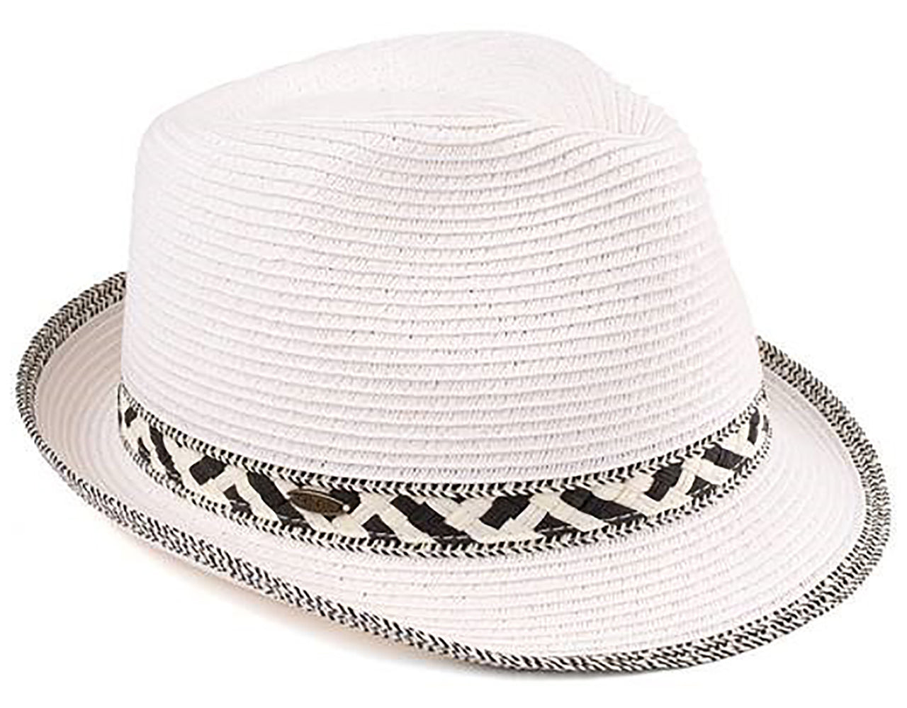 Funky Junque's UPF50+ Adjustable Multicolor Woven Pattern Short Brim Fedora Hat - White