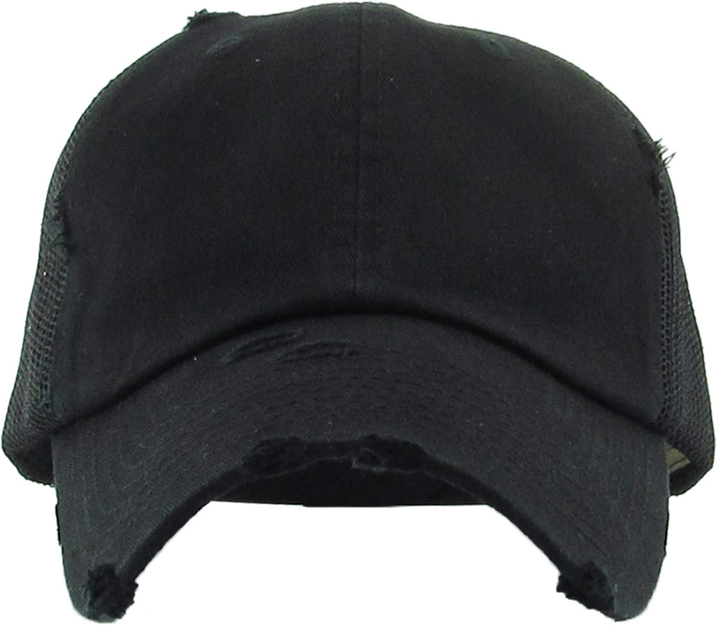 Distressed Trucker Hat - Black