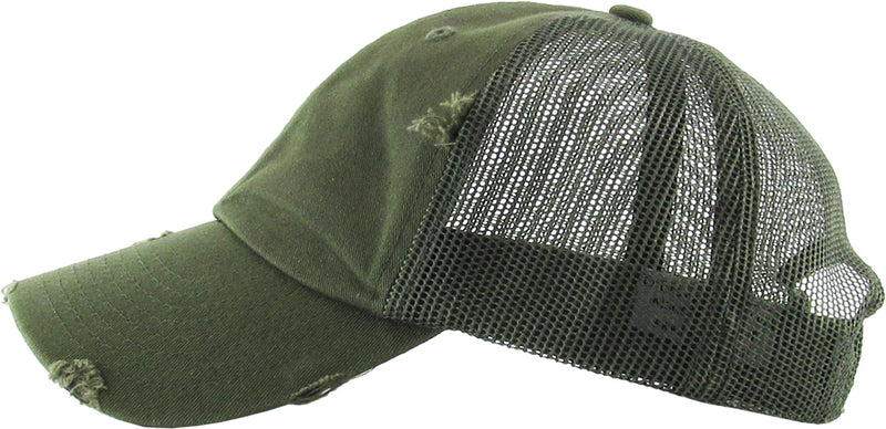 Distressed Trucker Hat - Olive