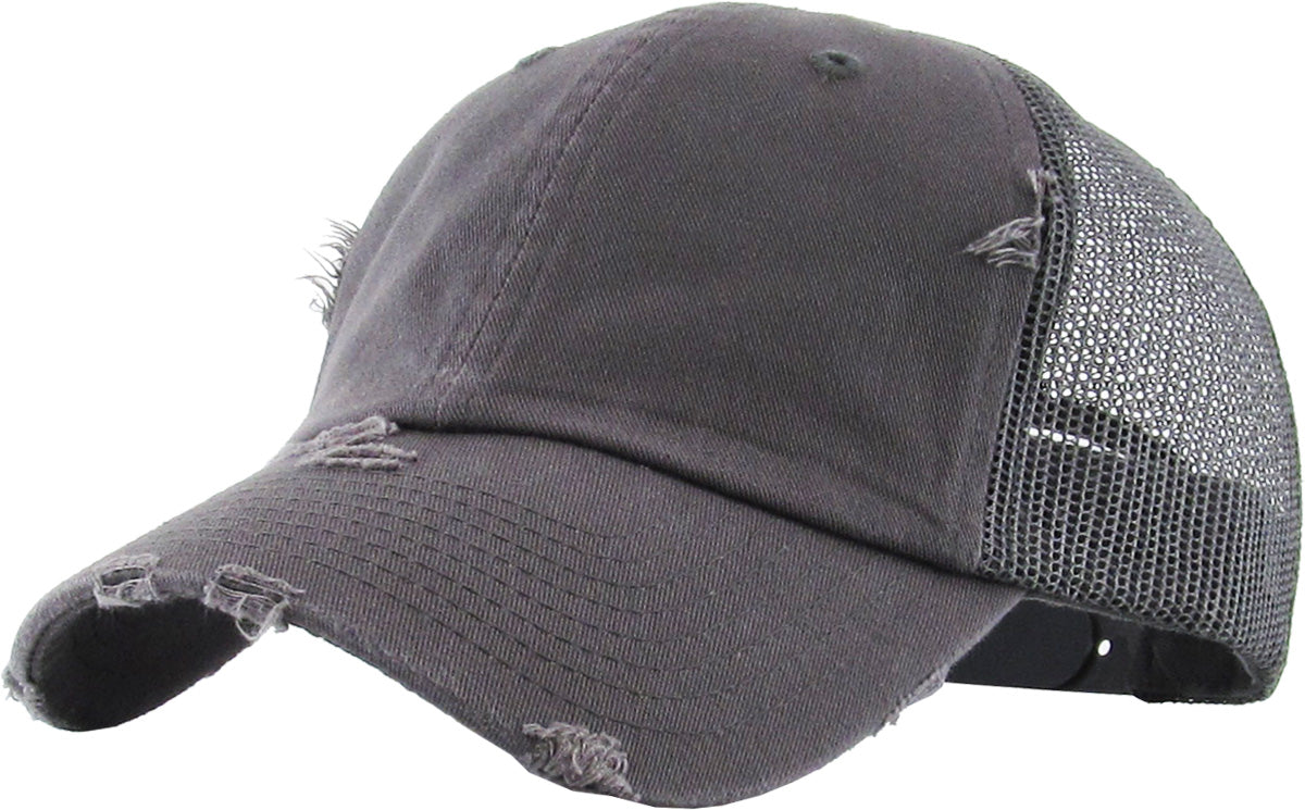 Distressed Trucker Hat - Grey