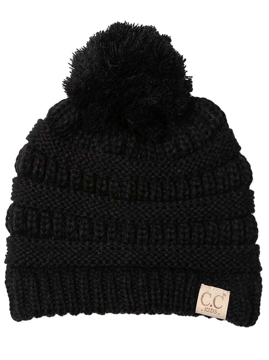 C.C. Kid's Cable Knit Winter Beanie W/ Pom - Solid Colors