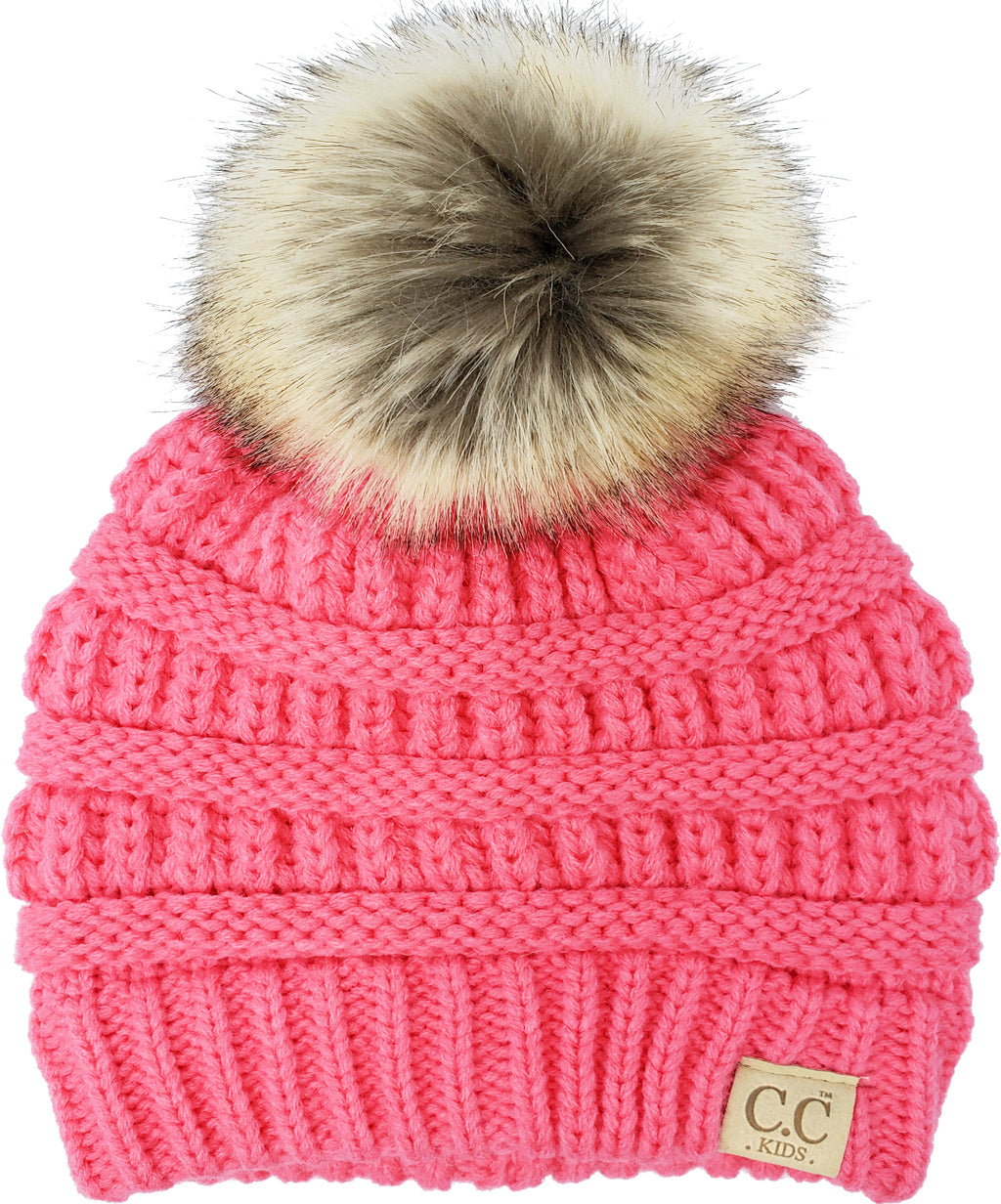 C.C. Kid's Classic Fit Cable Knit Beanie W/ Pom - Faux Fur