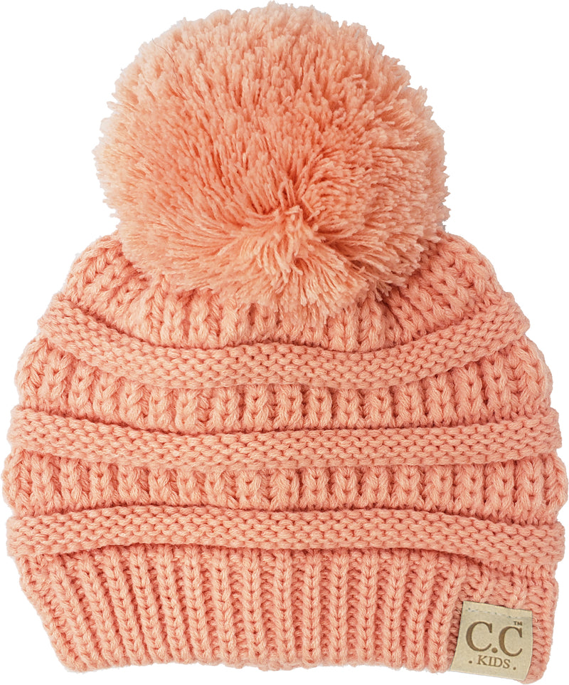 C.C. Kid's Classic Fit Cable Knit Beanie W/ Pom - Solid Colors